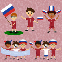 Set of boys with national flags of Russia. Blanks for the day of the flag, independence, nation day and other public holidays. The guys in sports form with the attributes of the football team