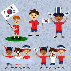 Set of boys with national flags of South Korea. Blanks for the day of the flag, independence, nation day and other public holidays. The guys in sports form with the attributes of the football team