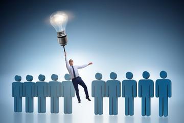 Businessman in career promotion concept