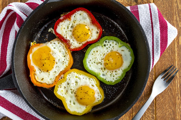 Fried Eggs in Cast Iron Skillet