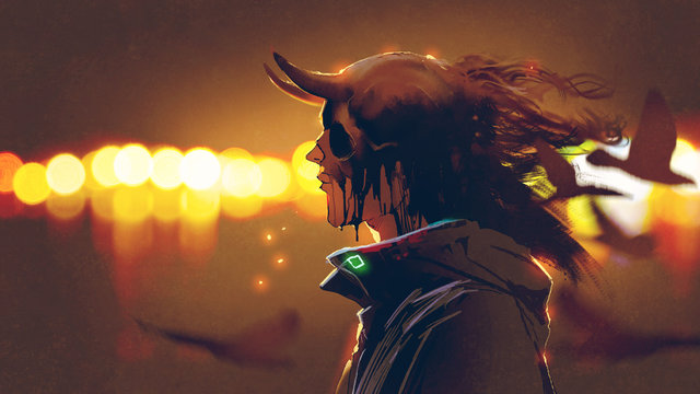 portrait of mysterious character with melting skull mask against bokeh background, digital art style, illustration painting