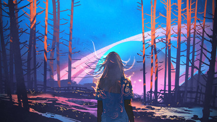 woman standing alone in forest with fictional planets background, digital art style, illustration painting