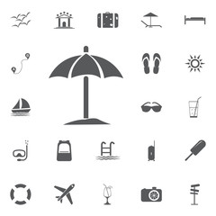 Sun Umbrella Icon Summer set