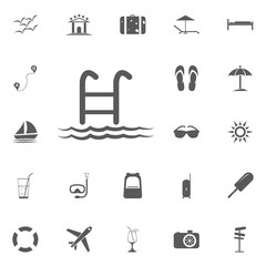 Swimming Pool Ladder Vector Icon. Simple, modern flat vector illustration for mobile app, website or desktop app Summer set