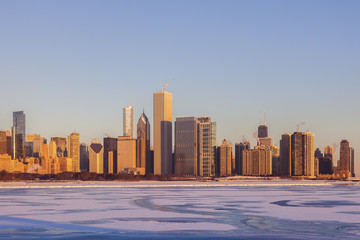 Fototapete - Winter in Chicago - skyline at sunrise