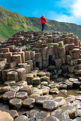 Giant's Causeway Landscape with a blue sky in summer, Co. Antrim, Northern Ireland in United Kingdom. UNESCO heritage.