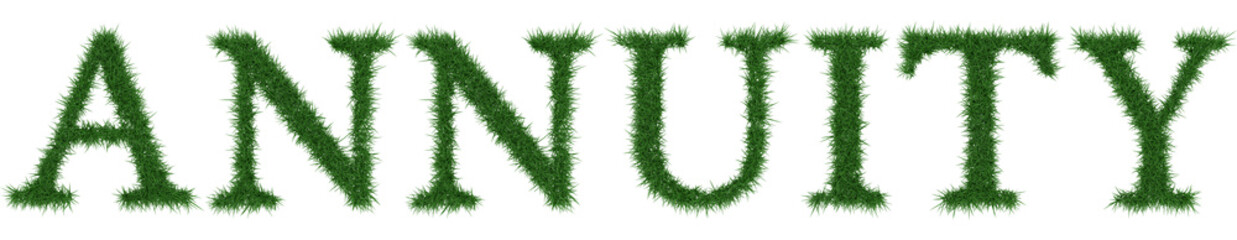 Annuity - 3D rendering fresh Grass letters isolated on whhite background.