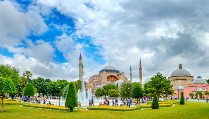 Panorama of cathedral Ayasofia and squares in front of her in the city of Istanbul