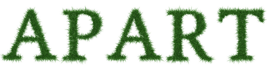 Apart - 3D rendering fresh Grass letters isolated on whhite background.