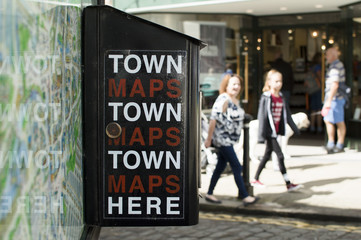 Map Vending Machine For Tourists In Busy High Street