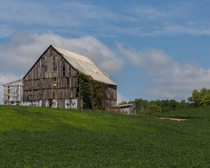 Old barn next to a field