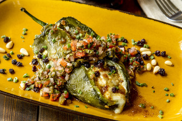 Stuffed Poblano Peppers and Salsa