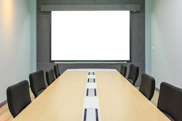 Background Of Blank Whiteboard Or Projection Screen In The Office