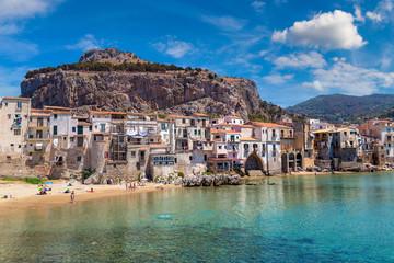 Sandy beach in Cefalu in Sicily