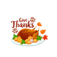 Thanksgiving turkey icon for holiday dinner design