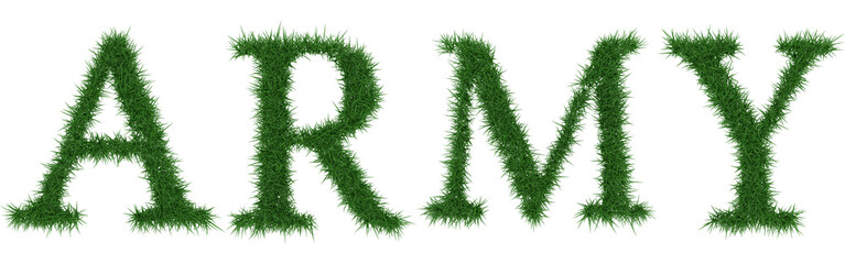 Army - 3D rendering fresh Grass letters isolated on whhite background.