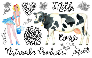 Design set with pinup girl advertising milk, cow and lettering on white