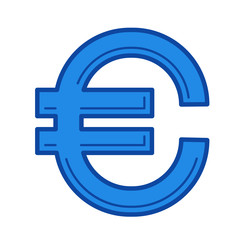 Euro sign vector line icon isolated on white background. Euro sign line icon for infographic, website or app. Blue icon designed on a grid system.