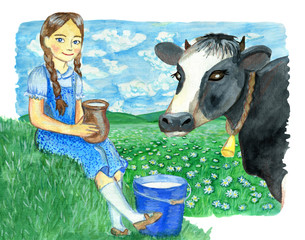 Beautiful girl holding pitcher of milk with bucket of milk in the grass and cow head
