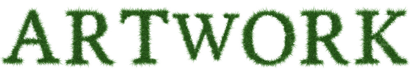 Artwork - 3D rendering fresh Grass letters isolated on whhite background.