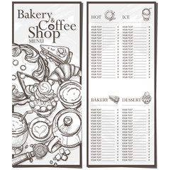 menu cafe coffee bakery restaurant template design hand drawing graphic