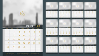 Vector of Calendar 2018 new year ,12 month calendar set with navy blue modern style,week start at Sunday,Template for place your photo.