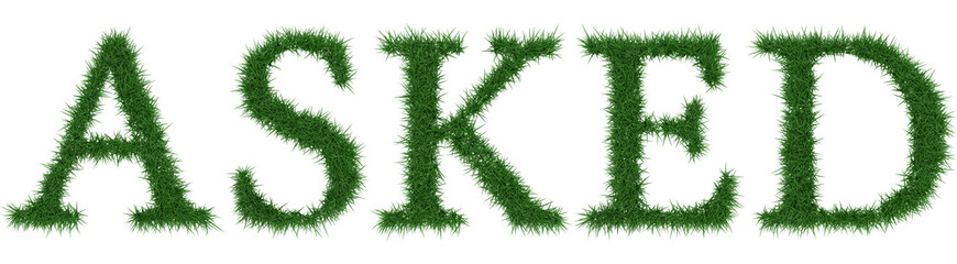 Asked - 3D rendering fresh Grass letters isolated on whhite background.