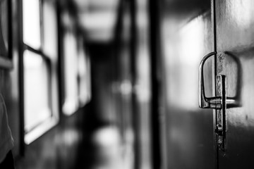 Old door lock in the train