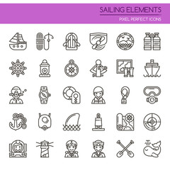 Sailing Elements , Thin Line and Pixel Perfect Icons.