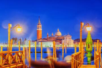 Views of the most beautiful canal of Venice - Grand Canal water streets, and view on  San Giorgio Maggiore (Chiesa di San Giorgio Maggiore). Italy.