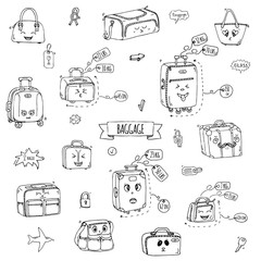 Hand drawn doodle Baggage with funny emoji faces icons set. Vector illustration. Different types of baggage. Large and small suitcase, hand luggage, backpack, handbag, tag. Sketch kawaii cartoon style