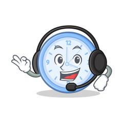 With headphone clock character cartoon style