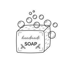 Vector thin line icon of natural organic handmade soap