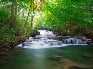 Huay Mae Kamin,Beautiful waterfall landscape in rainforset at Kanchanaburi province,Thailand