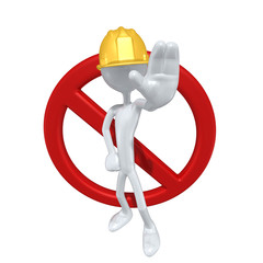 Construction Worker With No Symbol The Original 3D Character Illustration