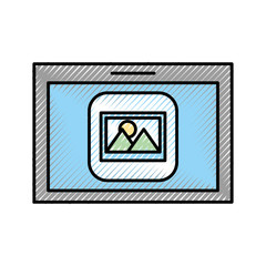 tablet device with picture vector illustration design