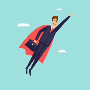 Super Businessman in Red Cape. Flat design vector illustration.