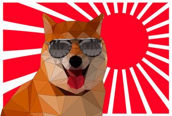 三角ポリゴンのサングラスをかけた柴犬と紅白の放射線の背景