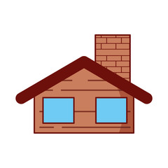 cute house with chimney vector illustration design