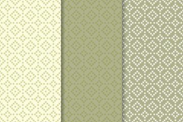 Geometric seamless patterns. Olive green set