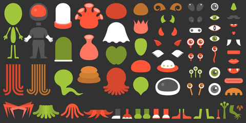 Monster and alien creation kit, suitable for children, Halloween, game application on smart phone, flat design vector