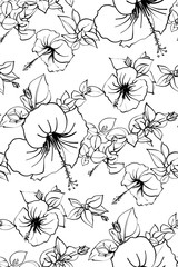 Floral seamless background pattern spring - summer season. Hibiscus flowers hand drawn.Vector illustration for textile, wrapping paper, wallpaper, сurtains .
