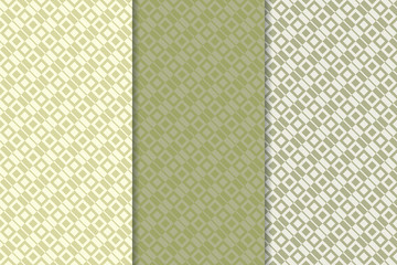 Green olive geometric set of seamless patterns