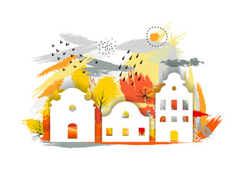 Vector hand drawn autumn illustration with cut out paper white houses and brush smears.