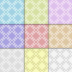 Colored geometric set of seamless patterns