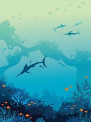 Marlins, underwater sea, coral reef.