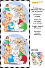 Picture riddle or visual puzzle: Find the seven differences between the two pictures of four playful kittens with toys. Answer included.