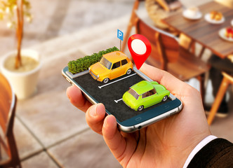 Smartphone application for online searching free parking place on the map. GPS Navigation. Parking concept