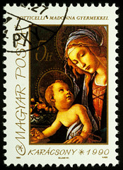 "Painting ""Madonna with Child"" by Botticelli on postage stamp"