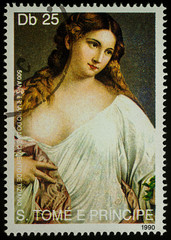 """Painting """"Bather"""" by Titian on postage stamp"""